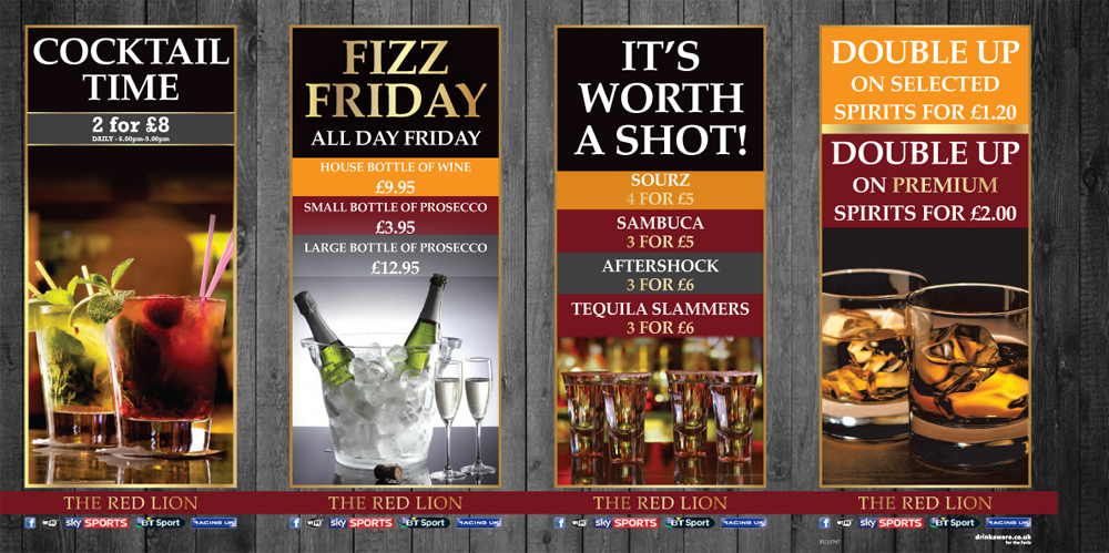 Draught beers, Ciders, Cocktail, Fizz Fridays - The Red Lion
