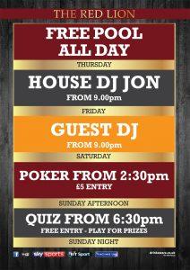 Karaoke nights, DJ, Poker, Free Pool - The Red Lion
